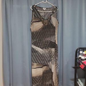 Tan, beige, black and cream maxi dress